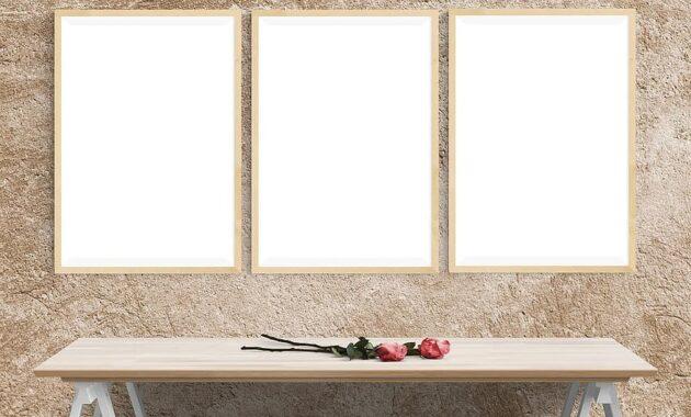 poster mockup wall template presentation desk portrait decor stock
