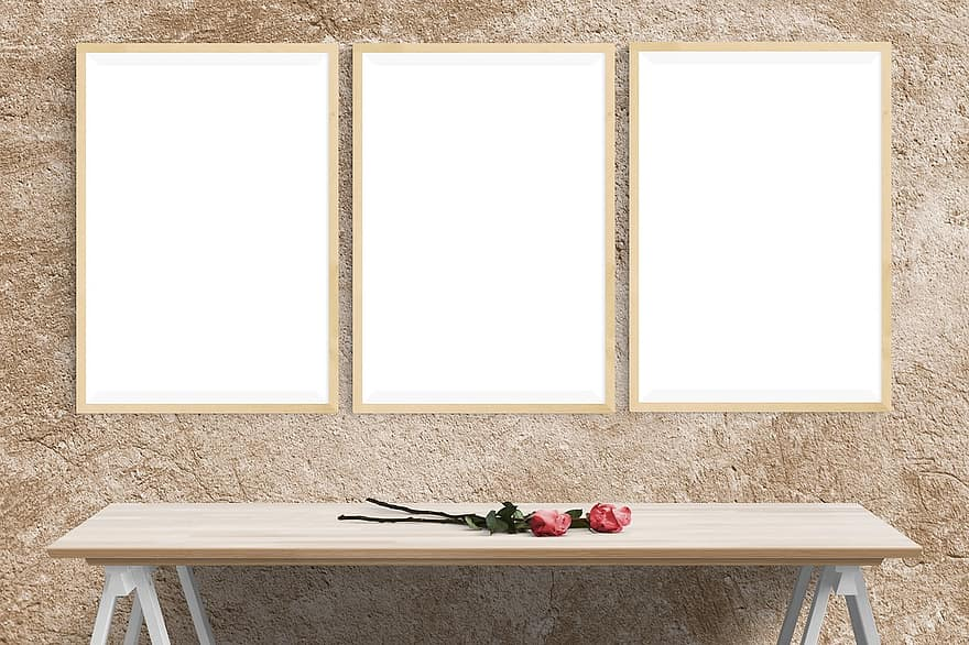 poster mockup wall template presentation desk portrait decor stock