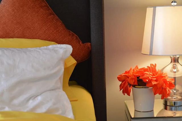 bed lamp bedside pillows flower bedroom house home cushions
