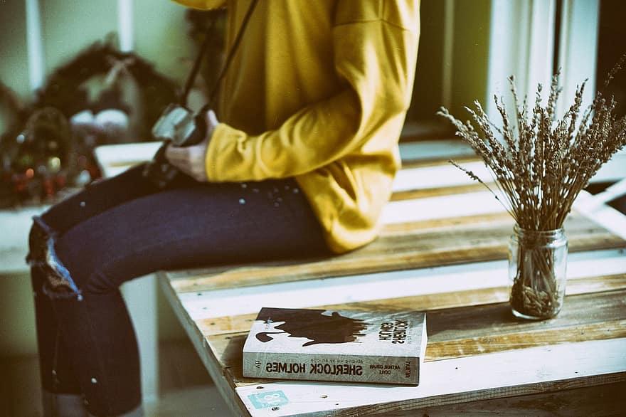 book furniture girl sitting table woman wood