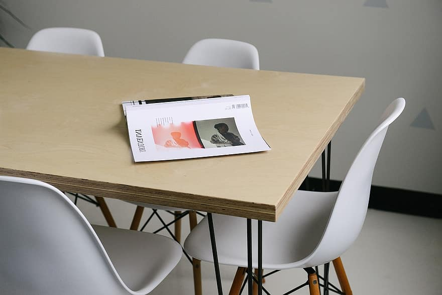 book wood table chairs office