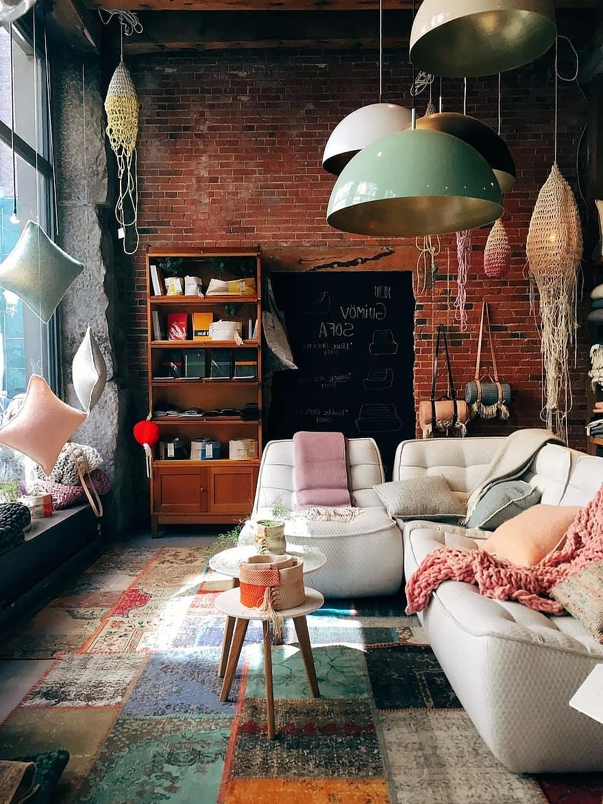brick wall room interior design furniture decoration home indoors lamps pastel