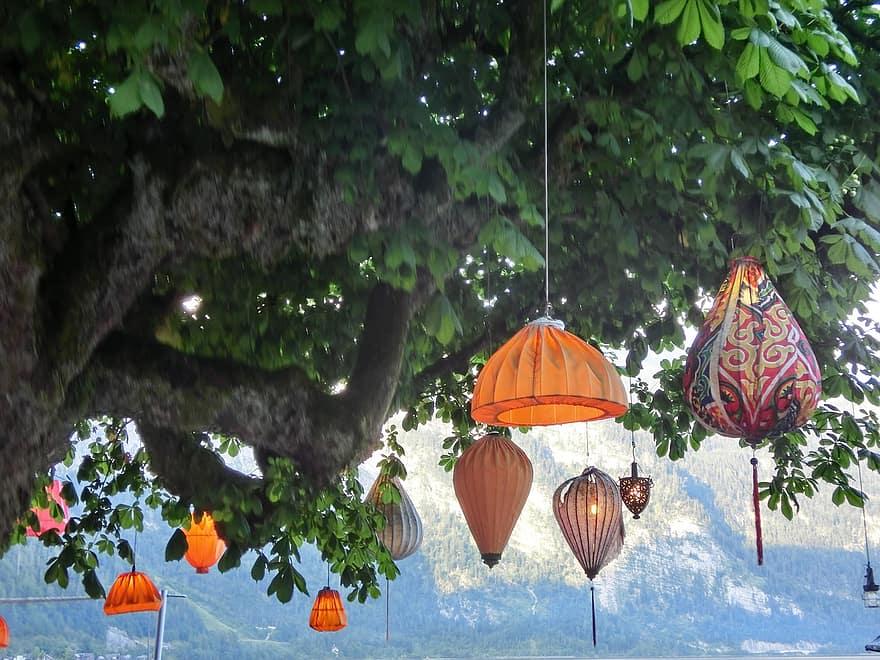 chinese lanterns lamps tree shining lamp shades