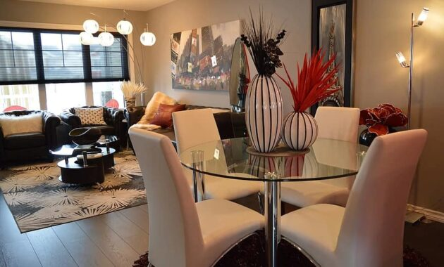 dining room living room furniture house home table chairs lighting residence 1