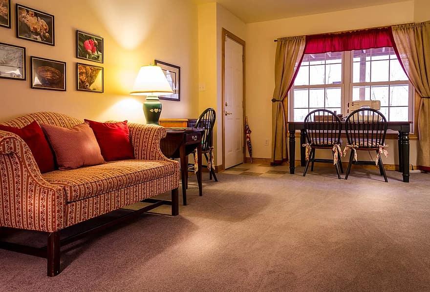 family room living room sewing room craft room bonus room sofa carpet table chairs curtains