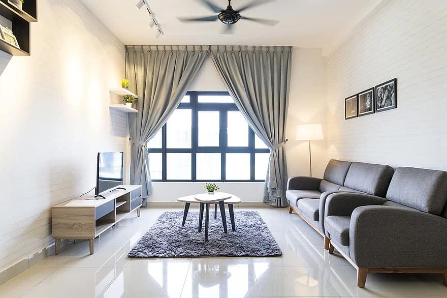 indoor living room interior home sofa furniture table decor modern
