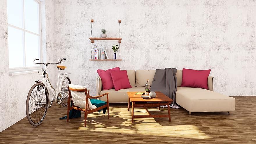 interior sofa table bicycle wood