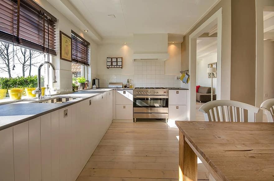 kitchen home interior modern room floor furniture counter wood