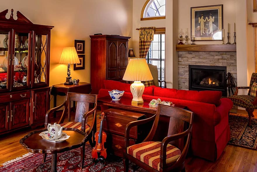 living room family room great room antique furniture interior design staging fireplace chairs sofa