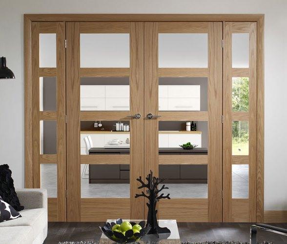 oak door with glass