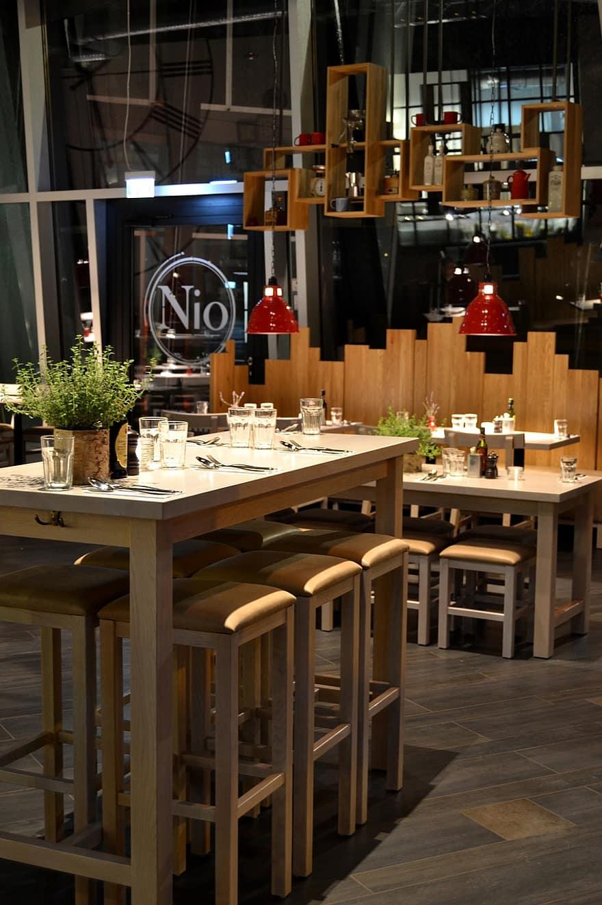 restaurant interior design high table wood seating area bar stool