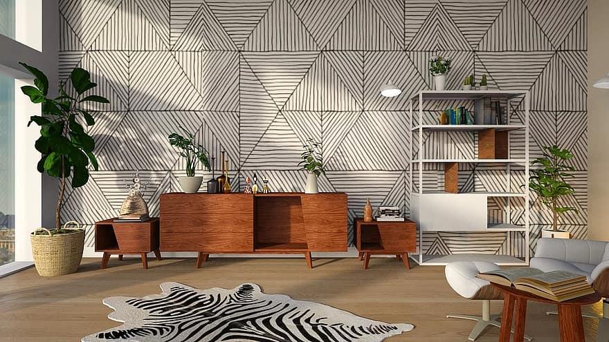 shelves carpet geometric pattern room light furniture modern be the interior of the
