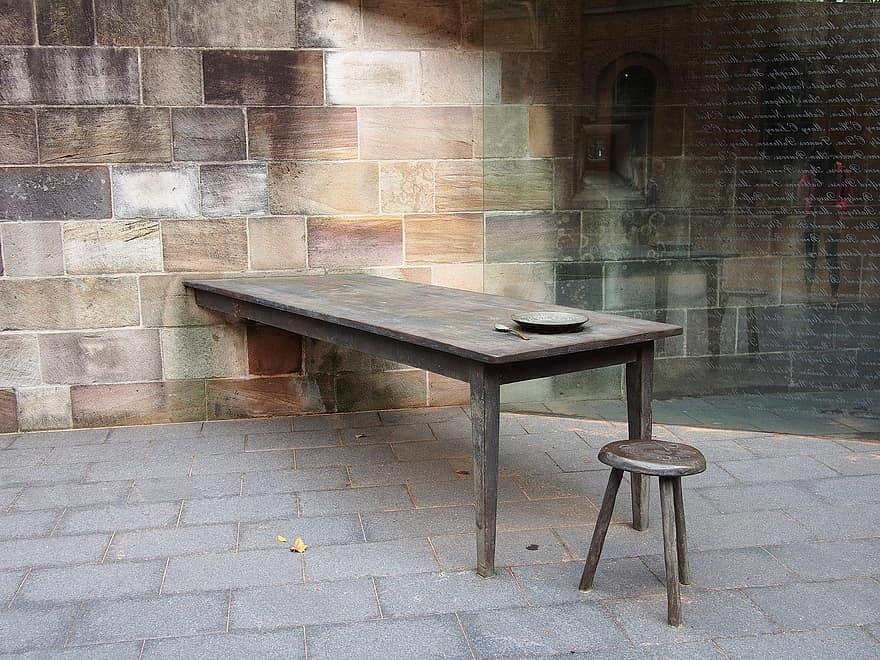 table chair brick wood decor
