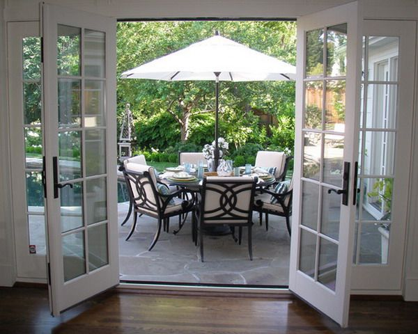 white unique french doors