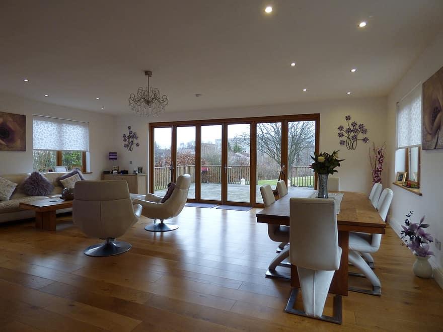 wood table wood floors bifold doors bi fold wood flooring room home interior design