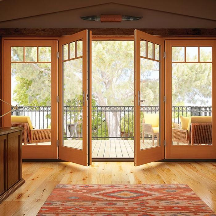 wooden swing patio doors