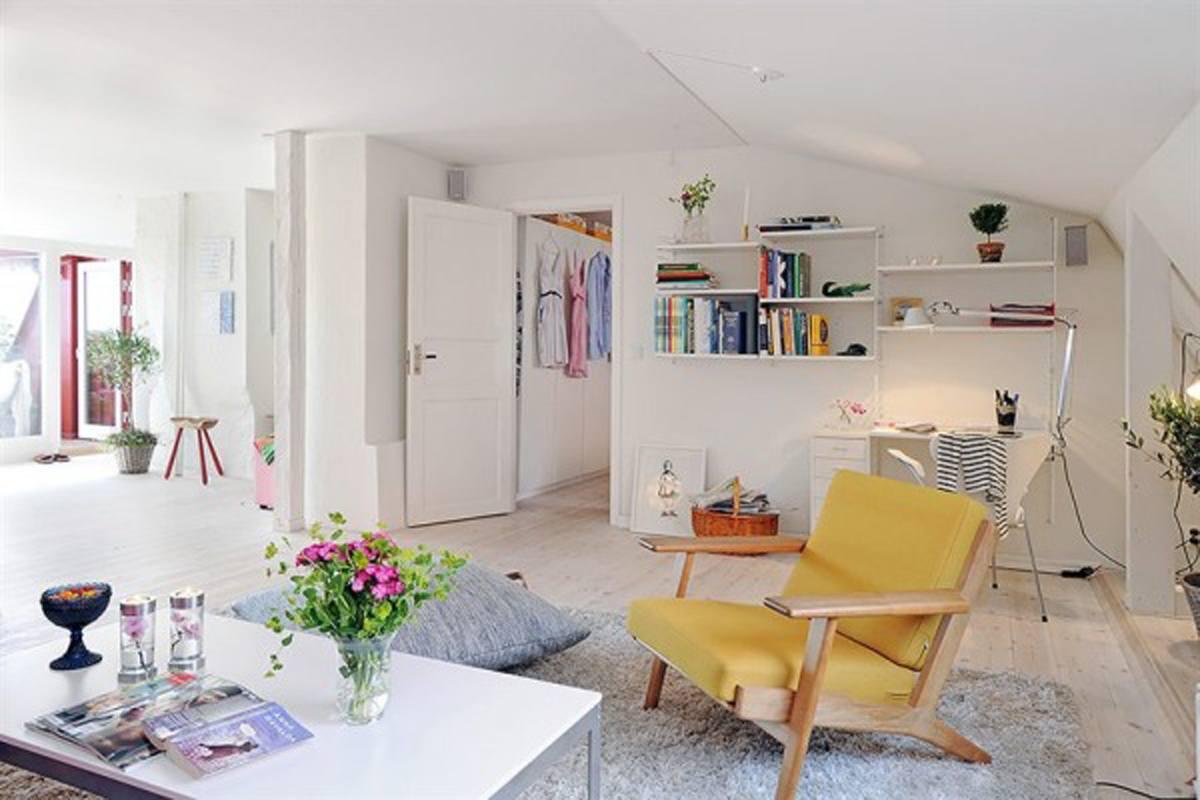 bright color living room design
