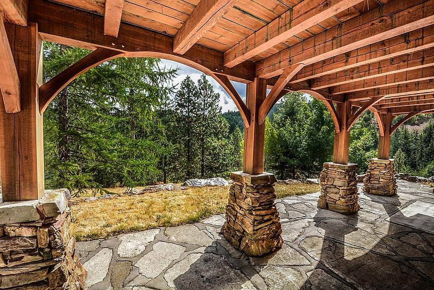 deck stone construction rural log wood wooden slate pillars