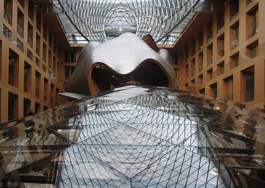 dz bank berlin frank gehry glass roof glass construction covered patio office building modern architecture