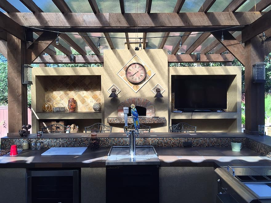 patio cover outdoor kitchen tile copper patio stone design outdoor kitchen 1