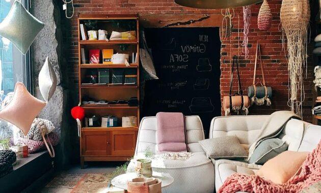 brick wall room interior design furniture decoration home indoors lamps pastel 2