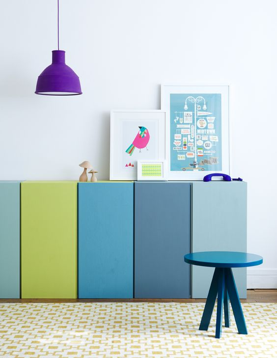 full color bookshelf ideas
