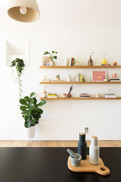 simple bookshelf as wall art