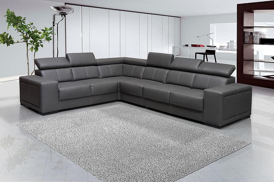 sofa interior design leaving room furniture gray carpet leather 1