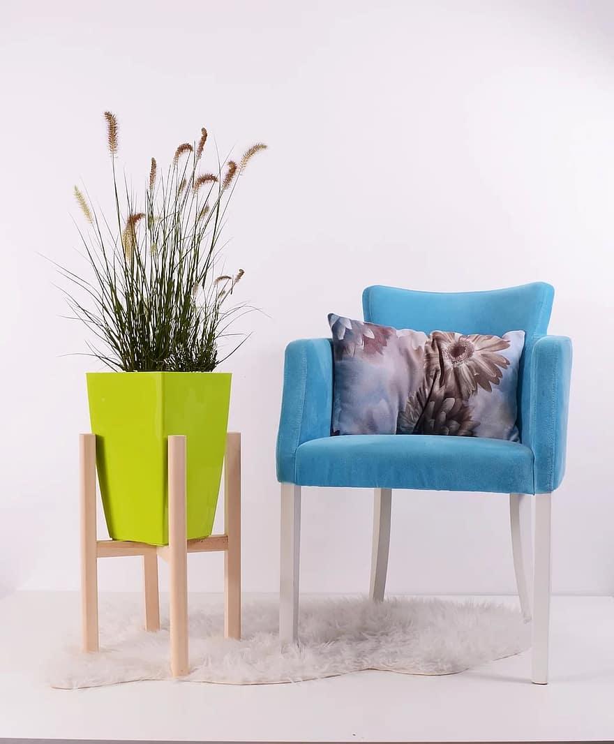 flowerpots green grow chair pot pottery decorative interior design