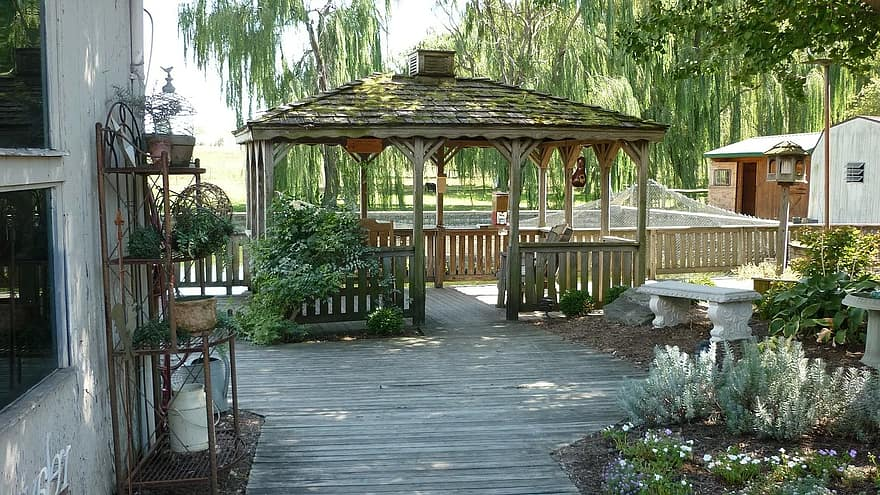 gazebo deck shade patio trees relaxation outdoors backyard pergola