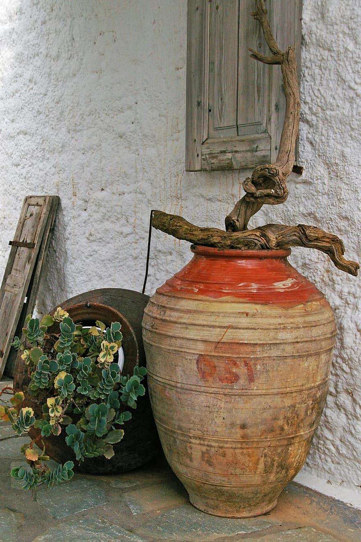 mediterranean deco south pots summer planters amphora old window shutters