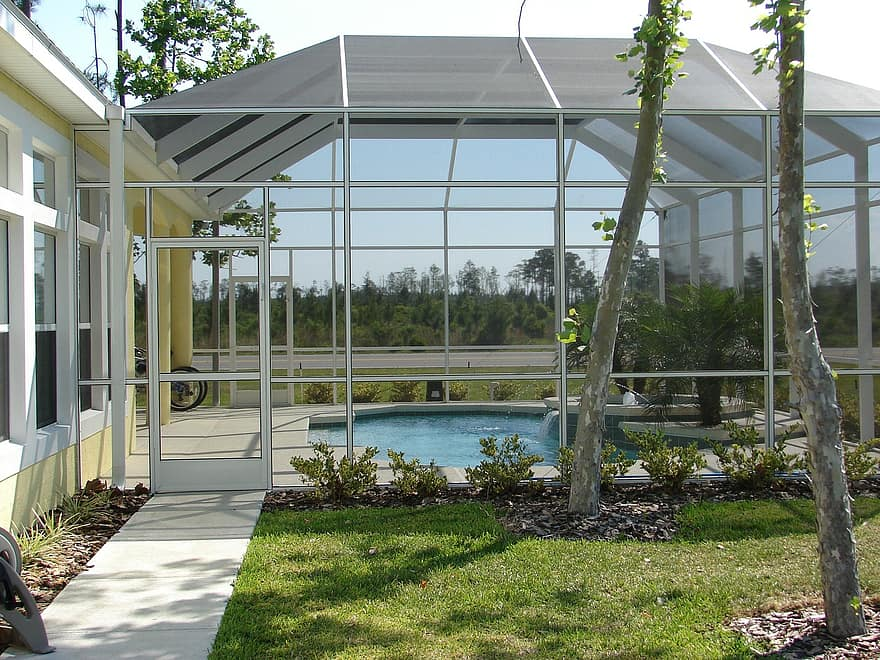 screen room winter garden sunroom porch patio room house pool swimming pool