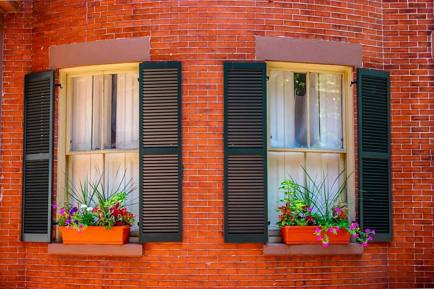 window brick planter flowers green purple reflection apartment wall 1