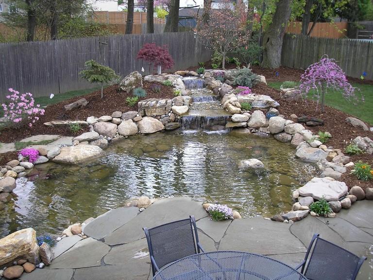 Beautiful Fish Pond with Pavers Around