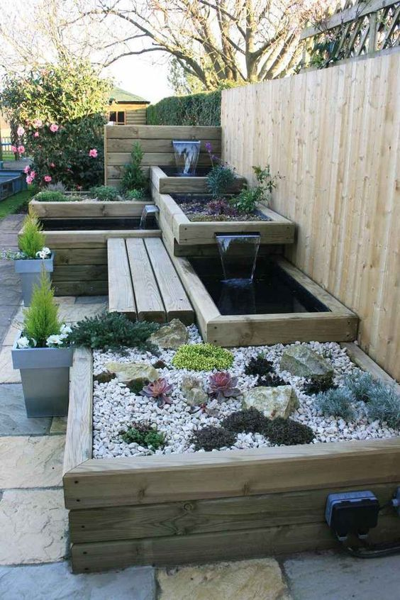 patio design with raised planters ideas