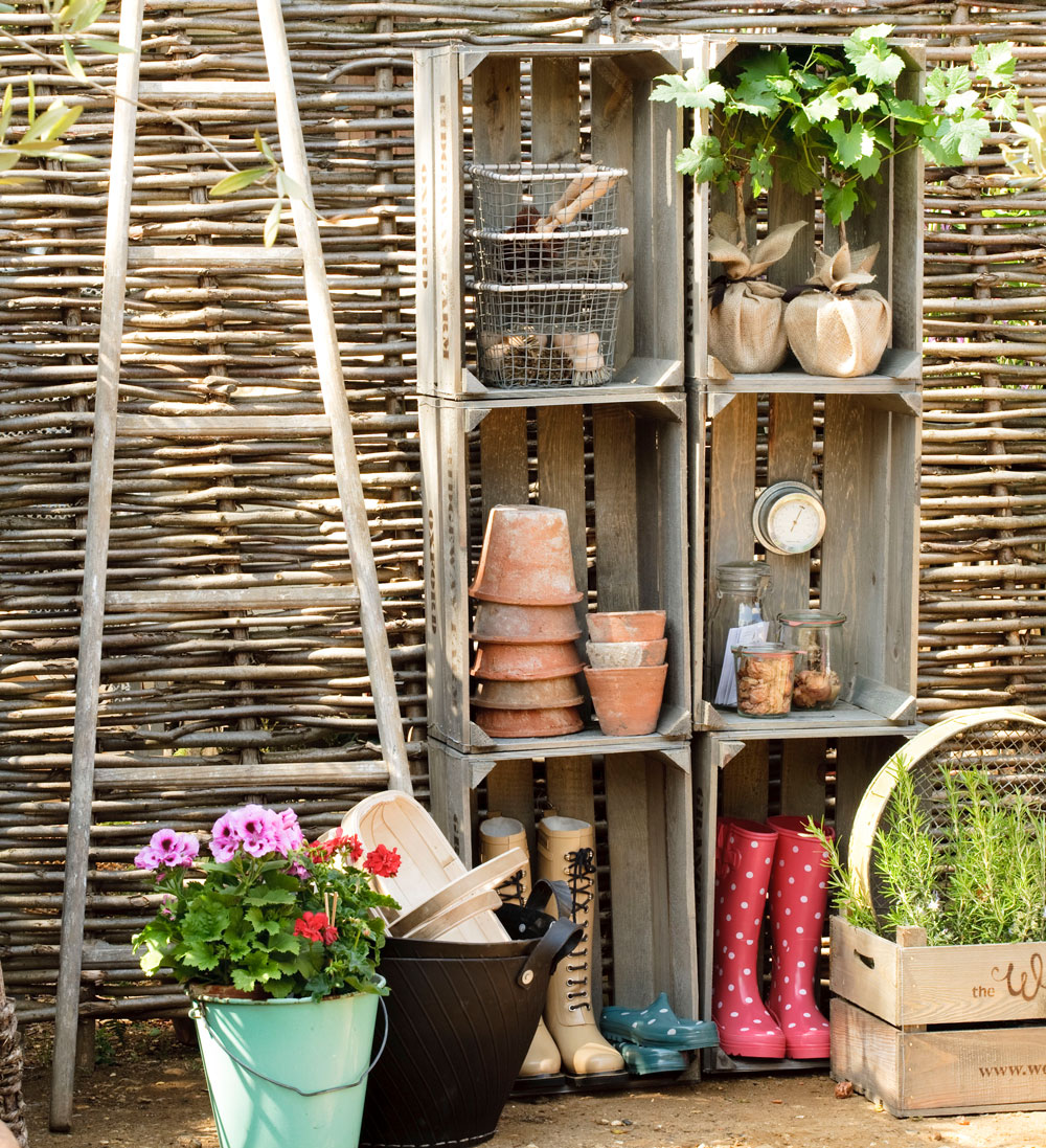 simple tiny garden with pot