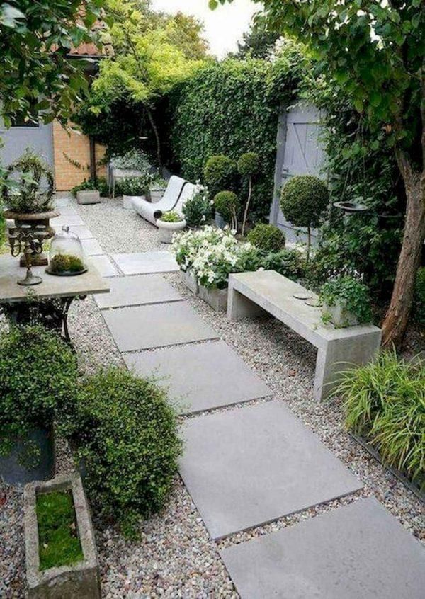 yard landscaping with paving and stone ideas