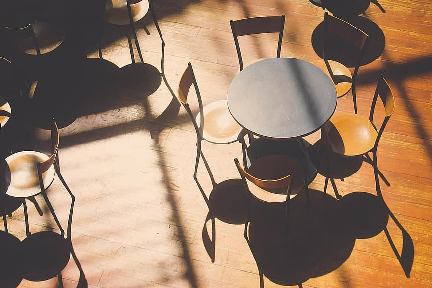 Minimalist Round Table set with wooden chair decoration