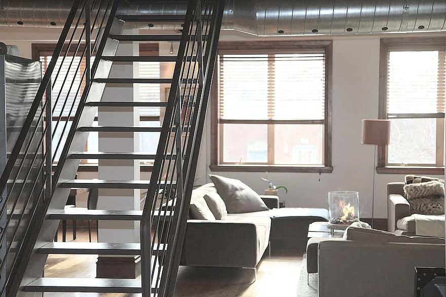 apartment accommodation flat loft domicile habitation stairs modern interior