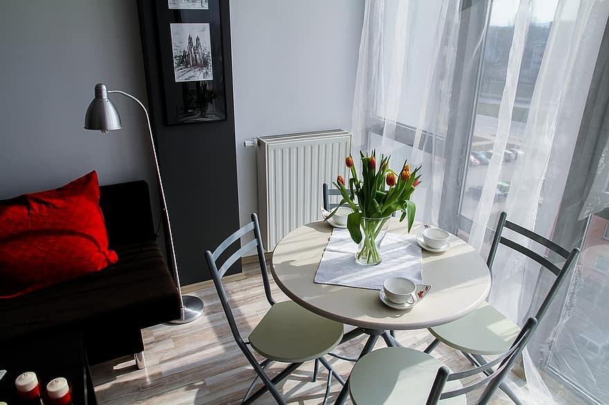 apartment room house residential interior interior design decoration comfortable apartment flowers tulips