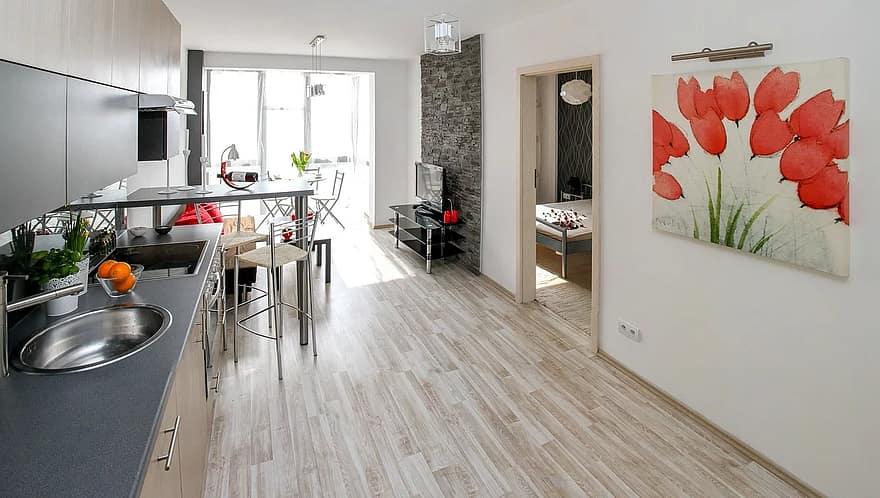 apartment room house residential interior interior design decoration comfortable apartment kitchenette