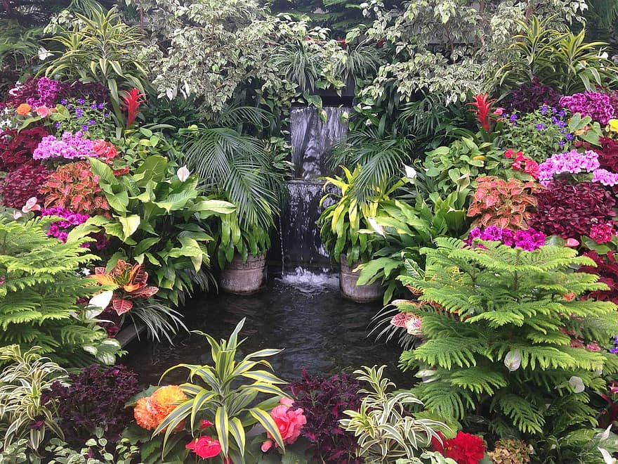 garden water landscape flowers colorful flowers garden waterfall pond water stream nature