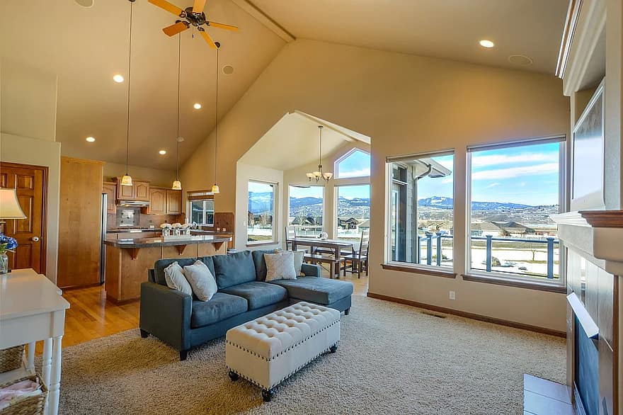 home real estate residential living room residence house view windows interior