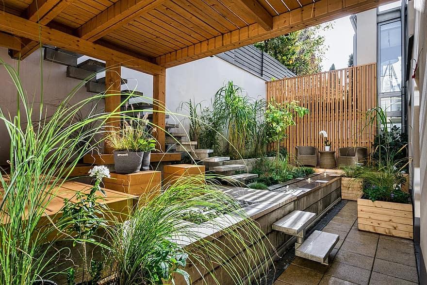 house patio luxury wood seat outdoors backyard contemporary garden