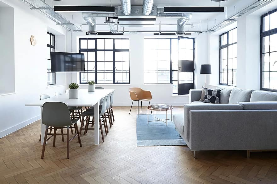 interior design tables chairs white wall window ceiling floor