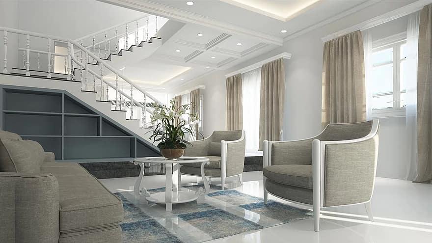 interior living room furniture neoclassical design luxury 3d white room