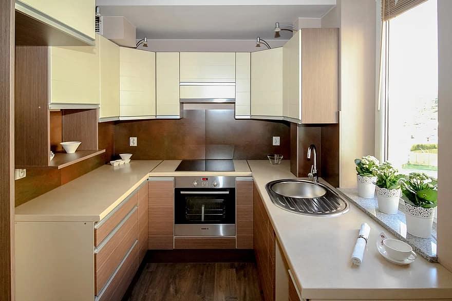 kitchen kitchenette apartment room house residential interior interior design decoration comfortable apartment