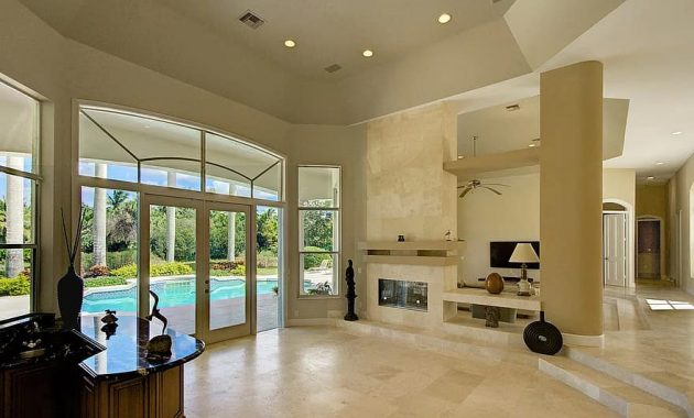 living room fireplace private estate luxury home parkland florida