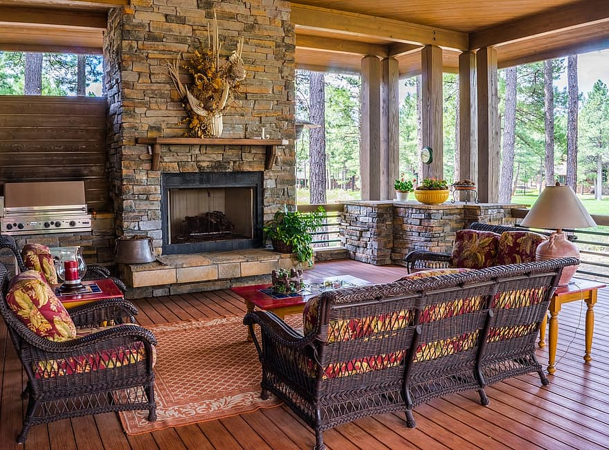 porch fireplace design house furniture deck cozy luxury patio