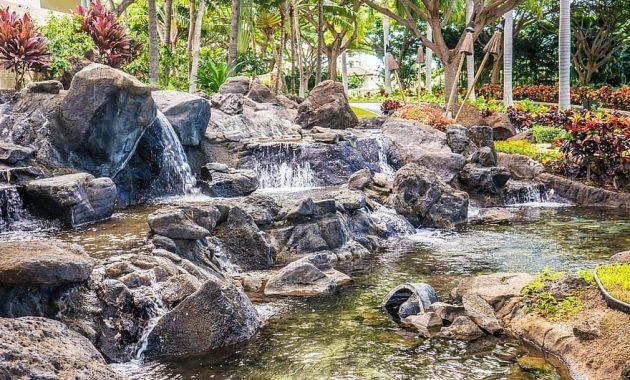 waterfall garden rocks nature pond green landscape stone park